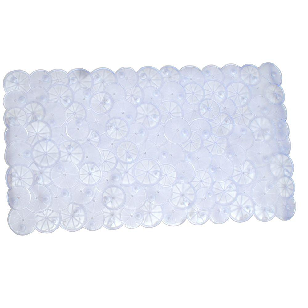 SlipX Solutions 17 in. x 30 in. Twist of Citrus Bath Mat in Clear