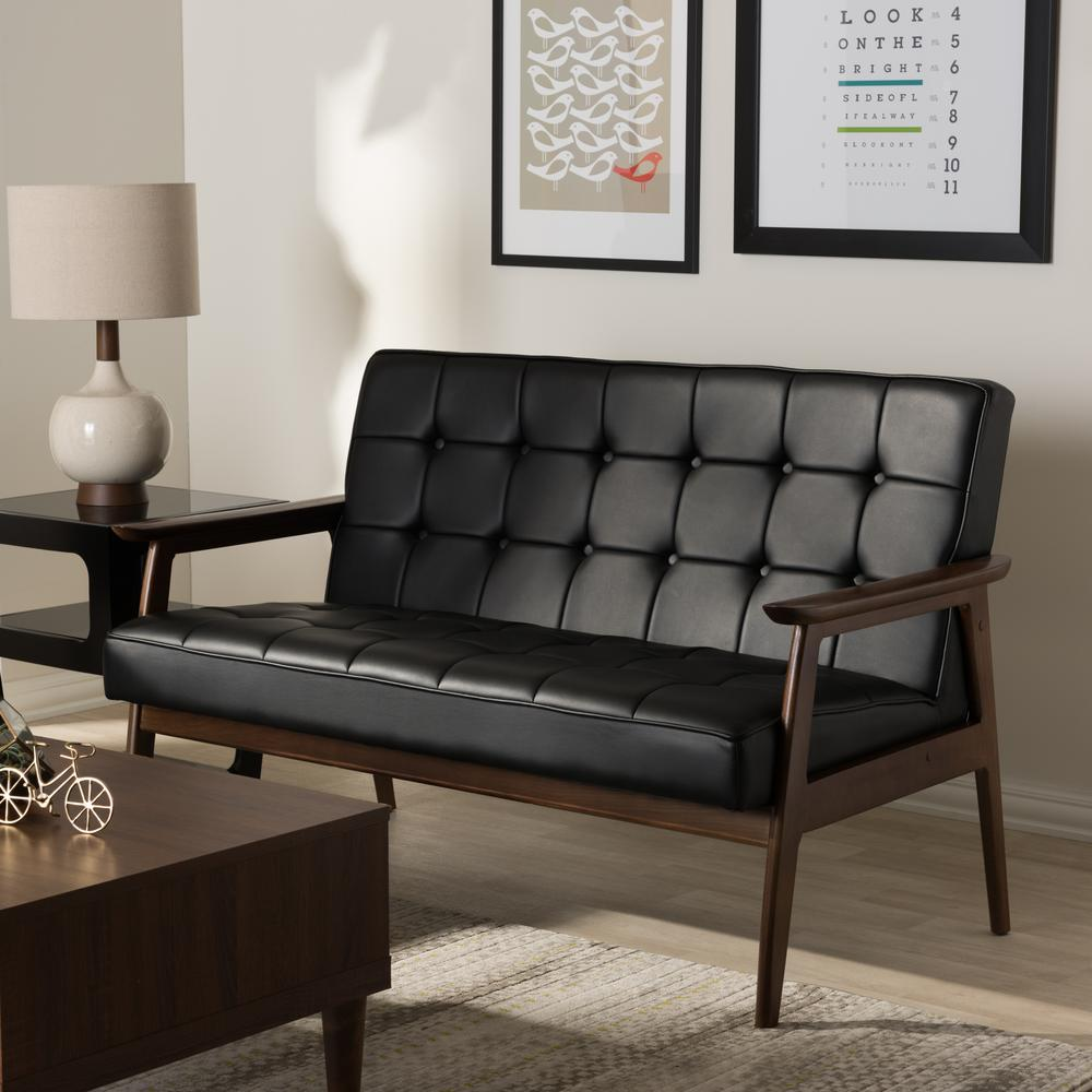 Stratham Mid-Century Black Faux Leather Upholstered Sofa