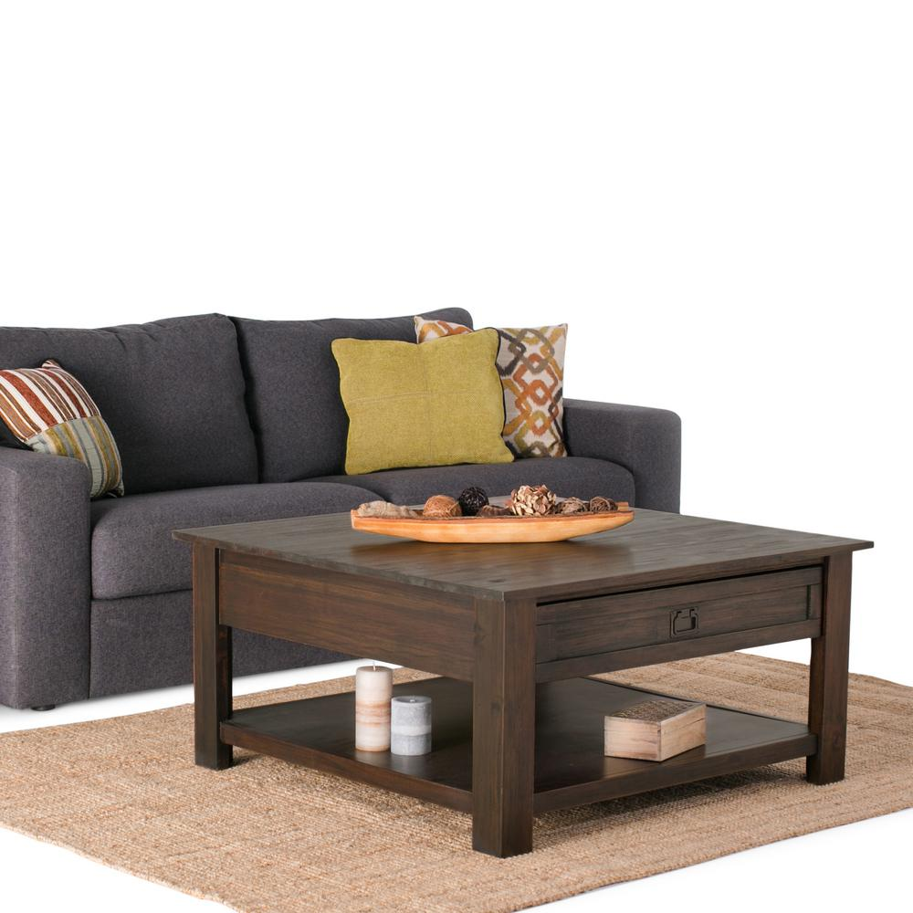 Simpli Home Monroe Distressed Charcoal Brown Storage Coffee Table