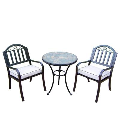 24 in. Table and Stone Art Rochester 3-Piece Patio Bistro Set with Solid Cushions