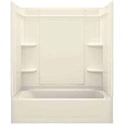 Ensemble Medley 60 in. x 32 in. x 77 in. 4-piece Tongue and Groove Tub Wall in Biscuit