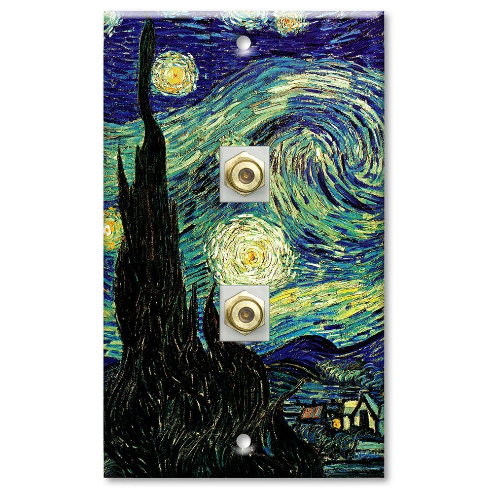 Art Plates Van Gogh Starry Night 2 Cable Wall Plate