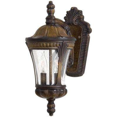 Kent Place 2-Light Prussian Gold Outdoor Wall Mount Lantern