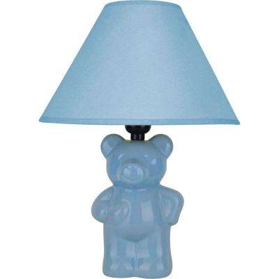 13 in. Ceramic Teddy Bear Light Blue Lamp