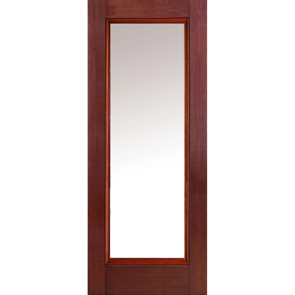 MMI Door 36 in. x 80 in. Clear Left-Hand Full Lite Classic Stained ...