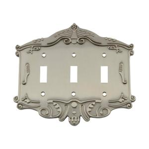 Nostalgic Warehouse Victorian Switch Plate with Triple Toggle in Satin Nickel by Nostalgic Warehouse