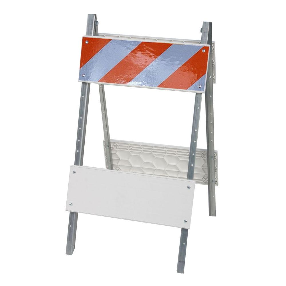 Three D Traffic Works 8 in. Plastic/Galvanized High-Intensity Sheet Type I Folding Barricade