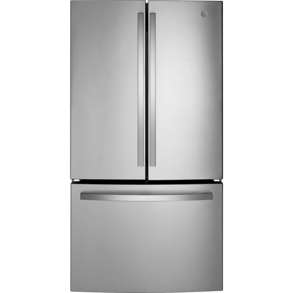 Ge 27 Cu Ft French Door Refrigerator In Fingerprint Resistant Stainless Steel Energy Star Gne27eymfs The Home Depot