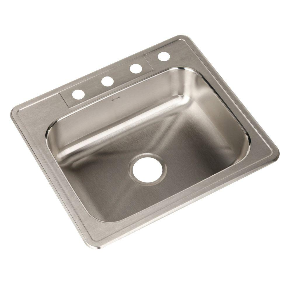 Houzer Glowtone Series Drop In Stainless Steel 25 In 4 Hole Single Bowl Kitchen Sink A2522