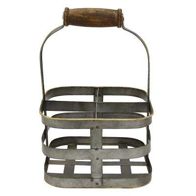 8.5 in. x 8.5 in. Metal Wine Holder in Gray