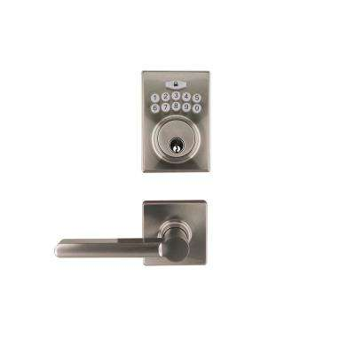 Square Satin Nickel Electronic Keypad Single Cylinder Deadbolt with Tonbridge Hall and Closet Door Lever Combo Pack