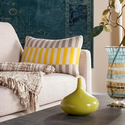 Stone Yellow Natural Striped Down Alternative 12 in. x 20 in. Throw Pillow