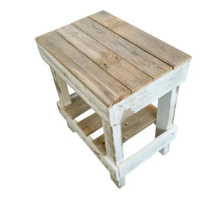 20 in. 2-Tone Natural and White Pine Reclaimed Wood Slim End Table