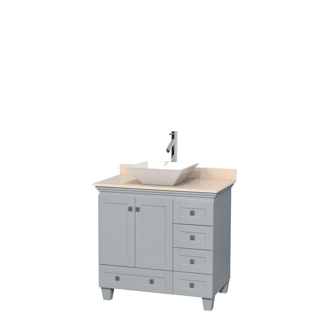 Wyndham Collection Acclaim 36 in. W x 22 in. D Vanity in Oyster Gray with Marble Vanity Top in Ivory with White Basin