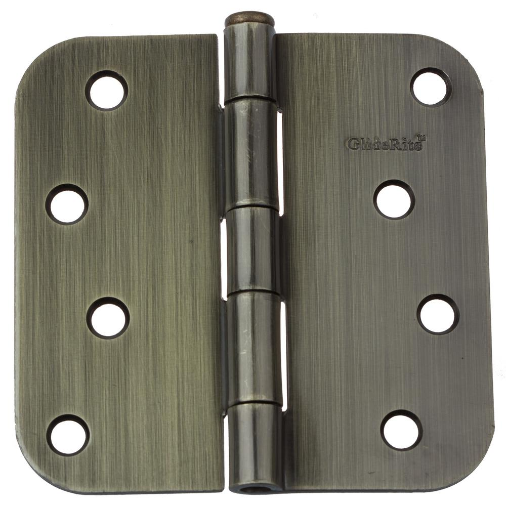 GlideRite 4 in. Antique Brass Steel Door Hinge 5/8 in. Corner Radius with Screws (12-Pack)