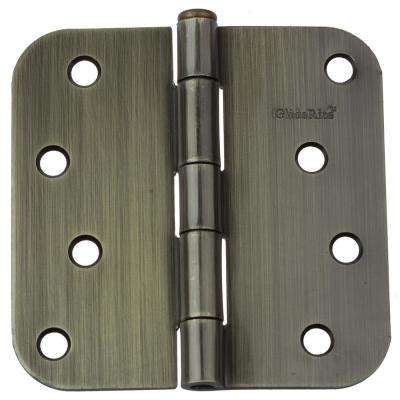 4 in. Antique Brass Steel Door Hinges 5/8 in. Corner Radius with Screws (24-Pack)