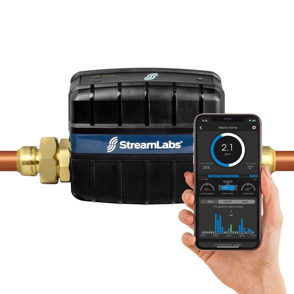 Streamlabs Smart Home 1 in  Water Monitor and Control System with SharkBite