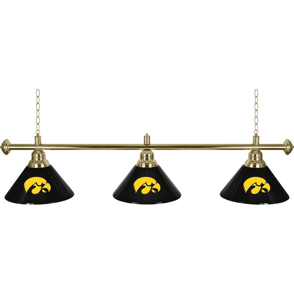 Trademark Global University of Iowa 60 in. Three Shade Black Hanging Billiard Lamp