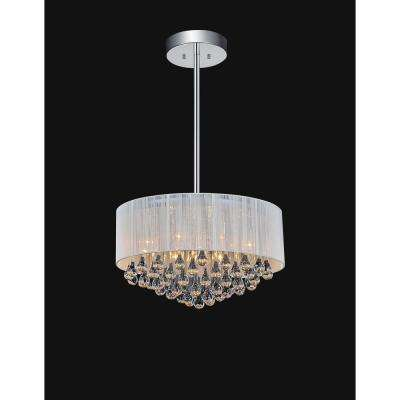 Water Drop 9-Light Chrome Chandelier with White shade