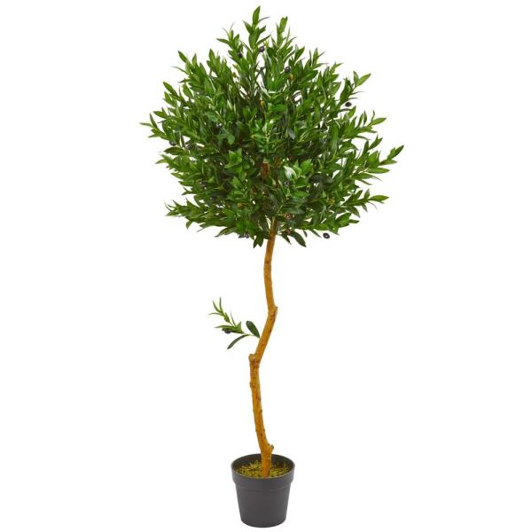 Nearly Natural 58 in. Indoor/Outdoor Olive Topiary Artificial Tree 9106
