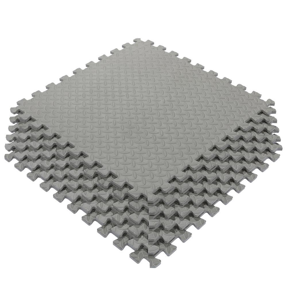Multi-Purpose Grey 24 in. x 24 in. EVA Foam Interlocking Anti-Fatigue Exercise Tile Mat (6-Pack)