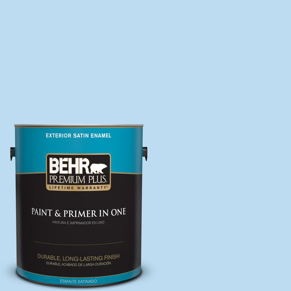 BEHR Premium Plus 1-gal. #P510-1 Greek Isles Satin Enamel Exterior Paint
