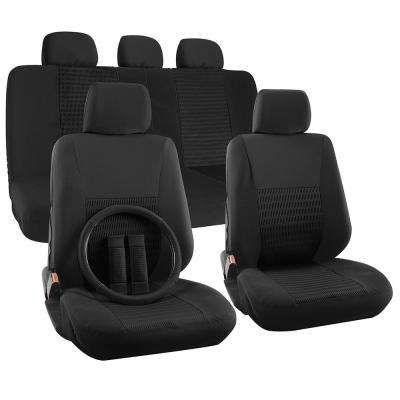 Polyester Seat Covers Set 26 in. L x 21 in. W x 48 in. H 17-Piece Seat Cover Set Flat Cloth Mesh Wide Stripe Black