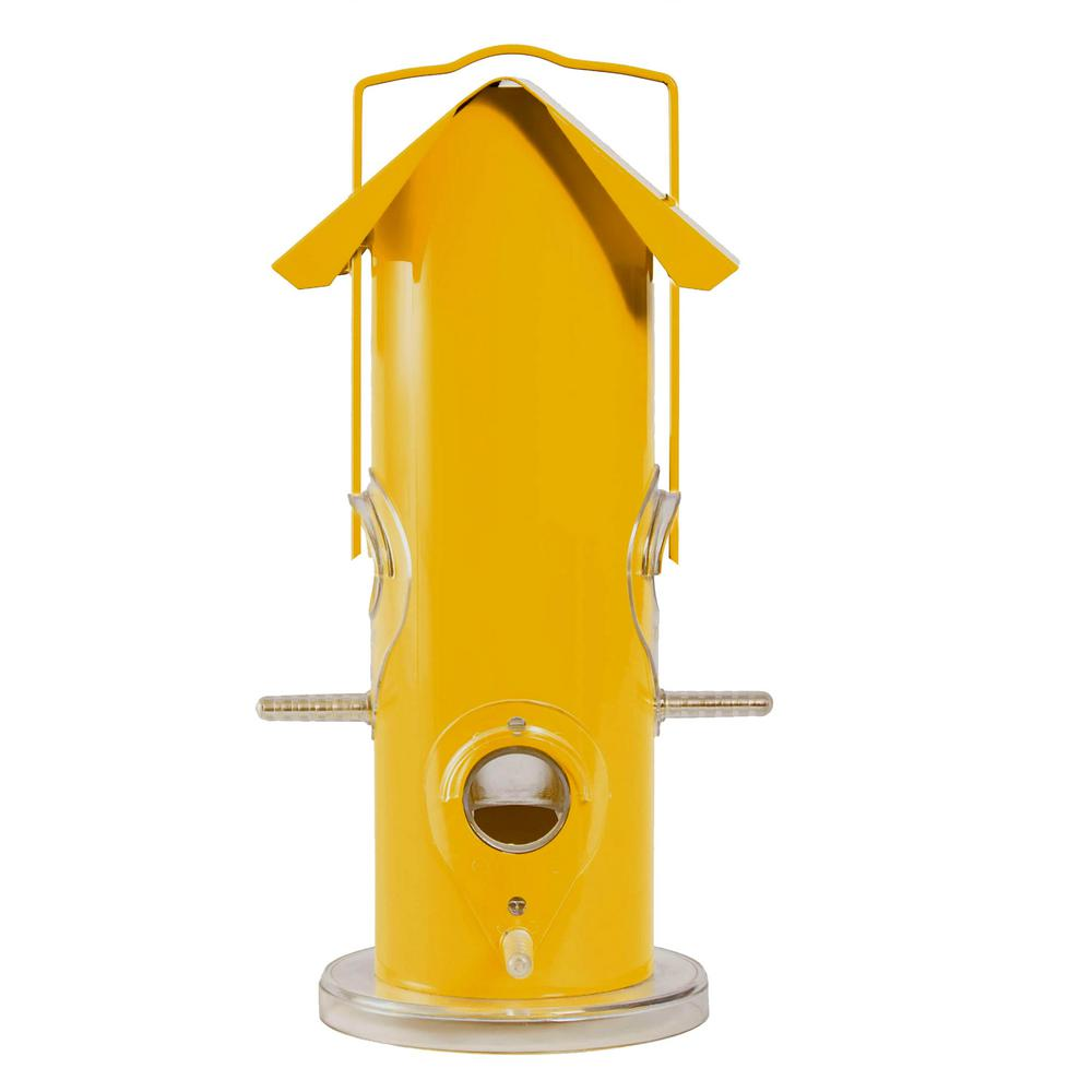 Perky-Pet Yellow Metal Tube Wild Bird Feeder