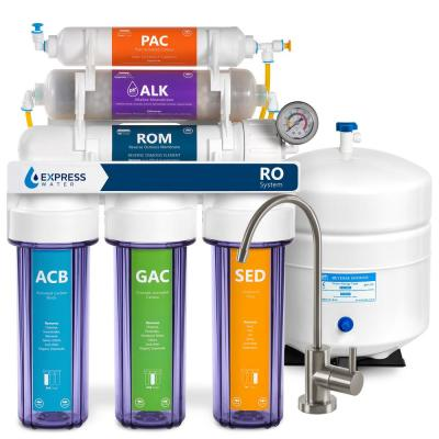 Clear Alkaline Reverse Osmosis Water Filtration - 10 Stage Mineralizing Filter - pH +, Antioxidant - 100 GPD with Gauge