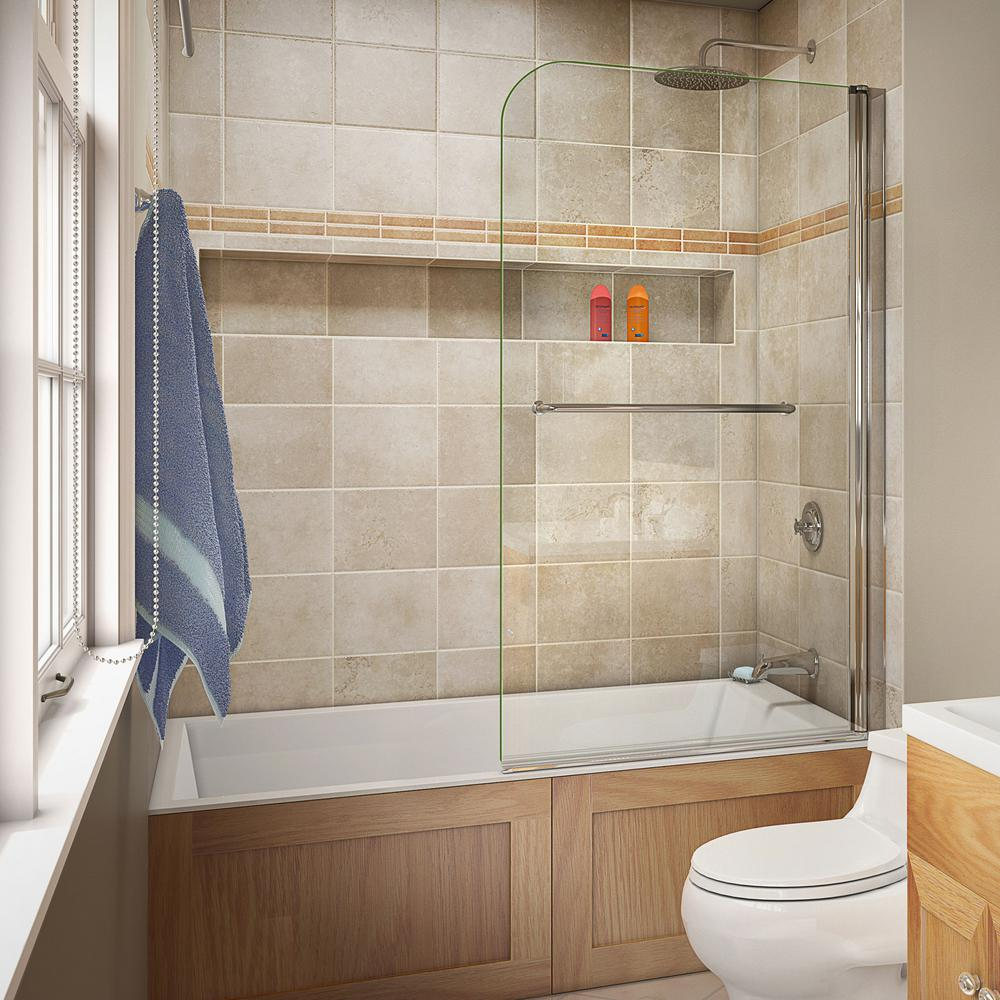 Dreamline Aqua Swing 34 In X 58 In Semi Framed Hinge Tub