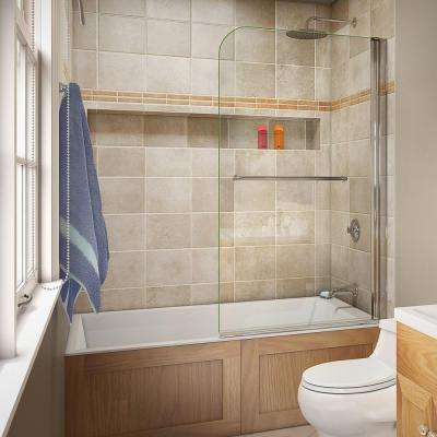 Aqua Swing 34 in. x 58 in. Semi-Framed Hinge Tub Door in Chrome