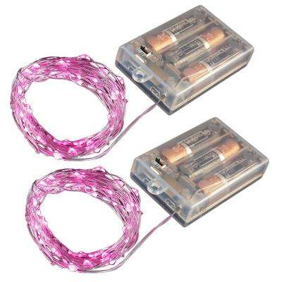 Battery Operated LED Waterproof Mini String Lights with Timer (50ct) Pink (Set of 2)