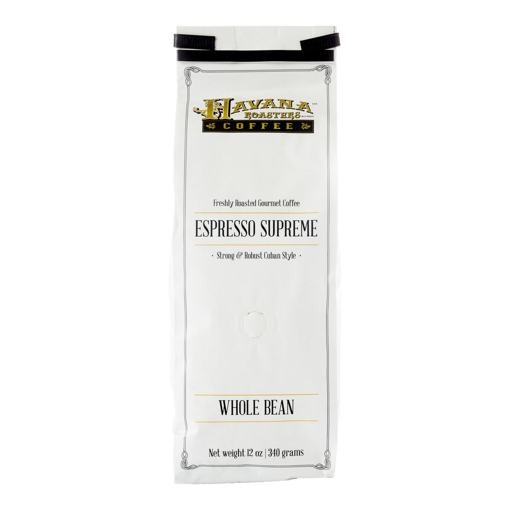 Havana Roasters Espresso Supreme 12 Oz Coffee Bag Whole Beans Bags