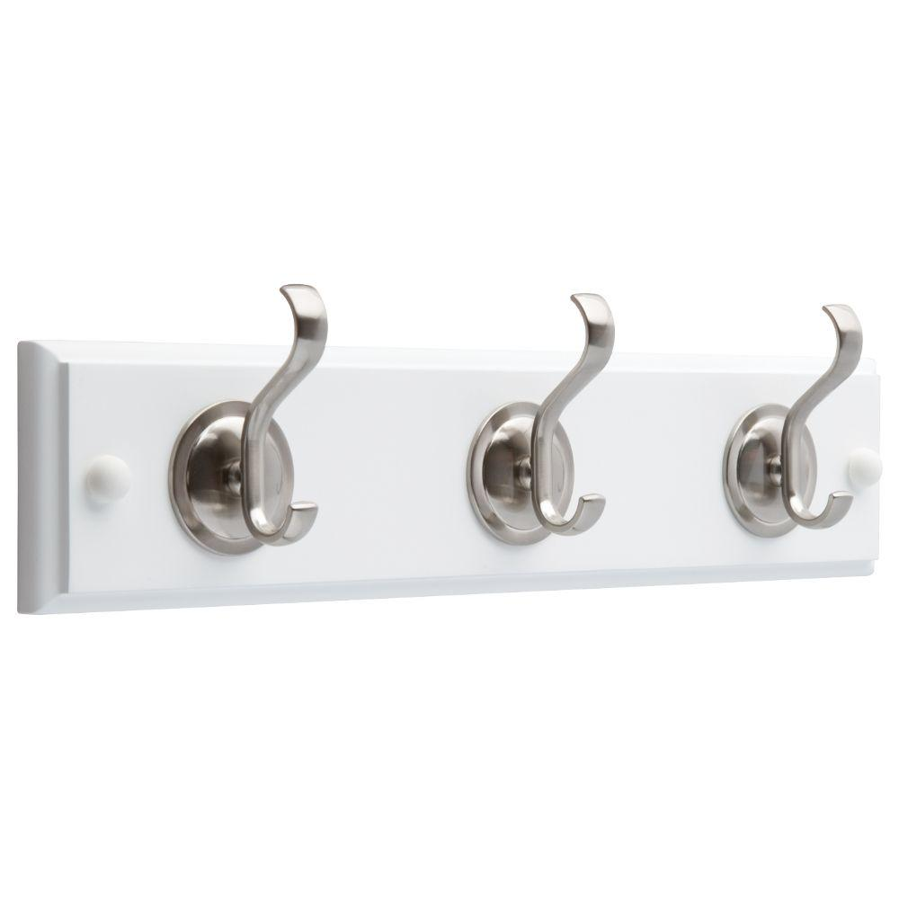 Liberty 14 in. White and Satin Nickel Hook Rack