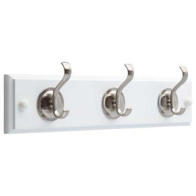 14 in. White and Satin Nickel Hook Rack