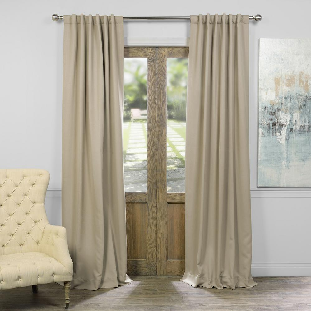 Exclusive Fabrics Furnishings Semi Opaque Clic Taupe Beige Blackout Curtain 50 In
