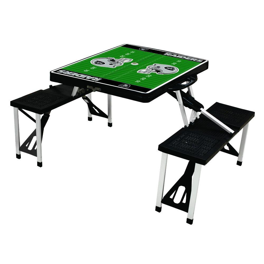 Picnic Time Oakland Raiders Sport Plastic Outdoor Patio Picnic Table
