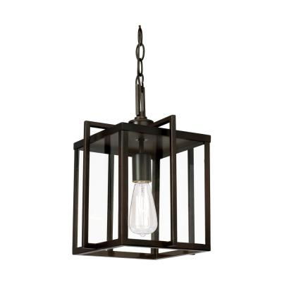 Eastwood II 1-Light Rubbed Oil Bronze Pendant with Metal and Glass Shade