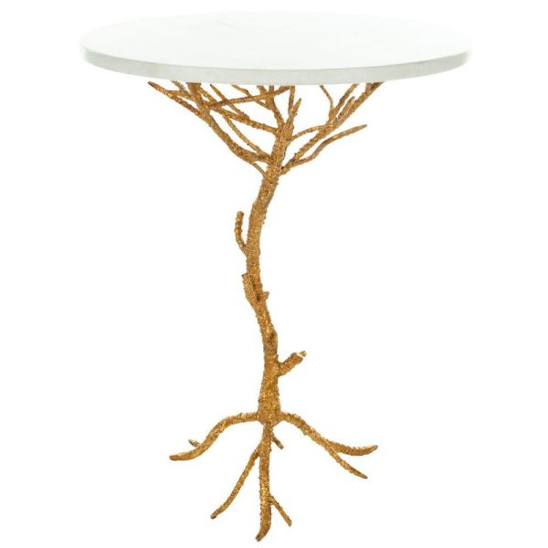 Safavieh Carolyn White and Gold End Table FOX2512A