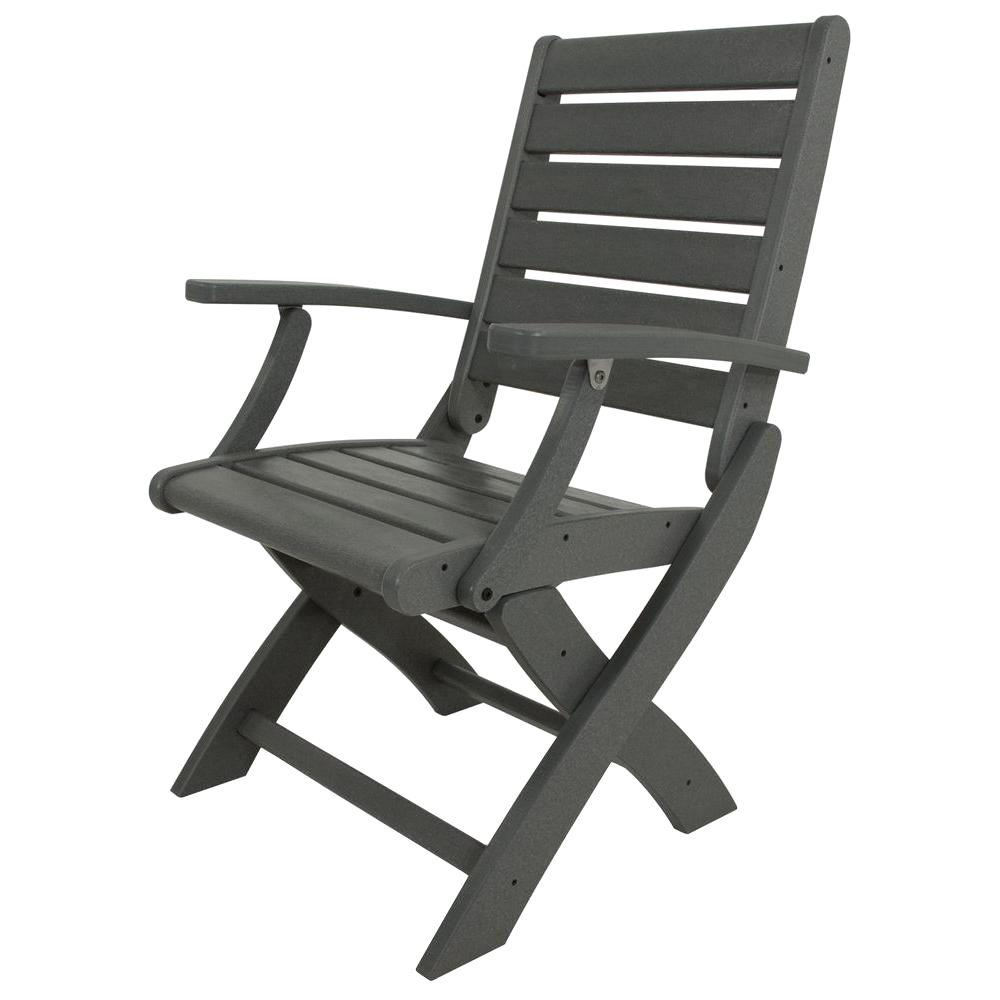 Charmant POLYWOOD Signature Slate Grey Plastic Outdoor Patio Folding Chair