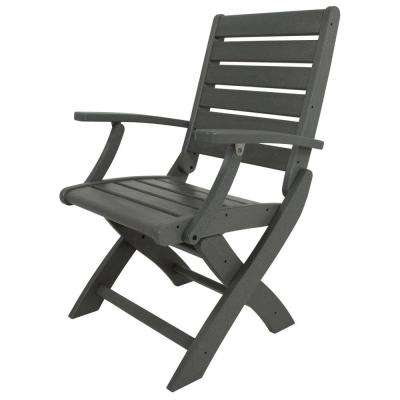POLYWOOD Signature Slate Grey Plastic Outdoor Patio Folding Chair by POLYWOOD