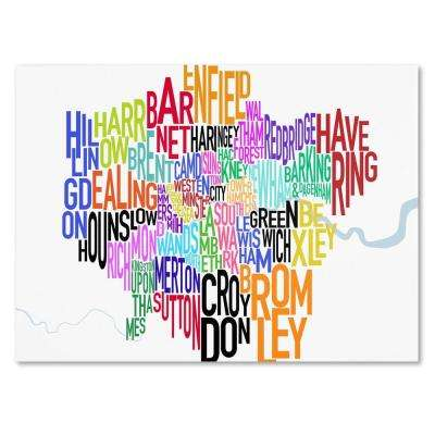 18 in. x 32 in. London Text Map Canvas Art