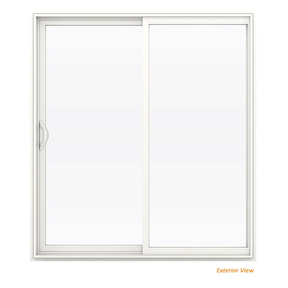 72 in. x 80 in. V-2500 White Vinyl Left-Hand Full Lite