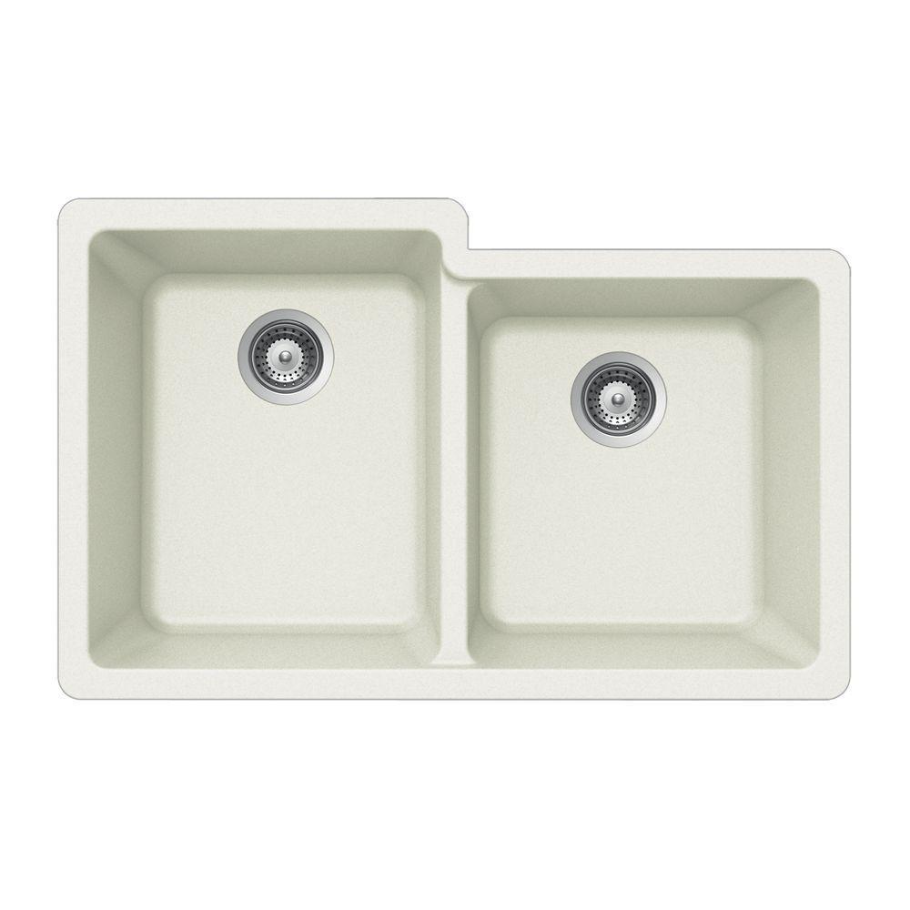 Quartztone Undermount Composite Granite 33 in. Double Bowl Kitchen Sink in