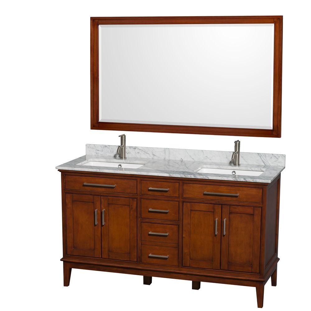 Wyndham Collection Hatton 60 in. Vanity in Light Chestnut with Marble Vanity Top in Carrara White, Square Sink and 56 in. Mirror