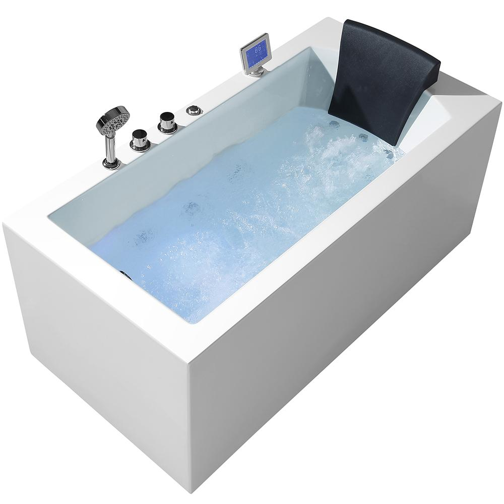 Ariel Platinum 59 in. Acrylic Left Drain Rectangular Alcove ...