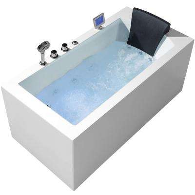 59 in. Acrylic Left Drain Rectangular Alcove Whirlpool Bathtub in White