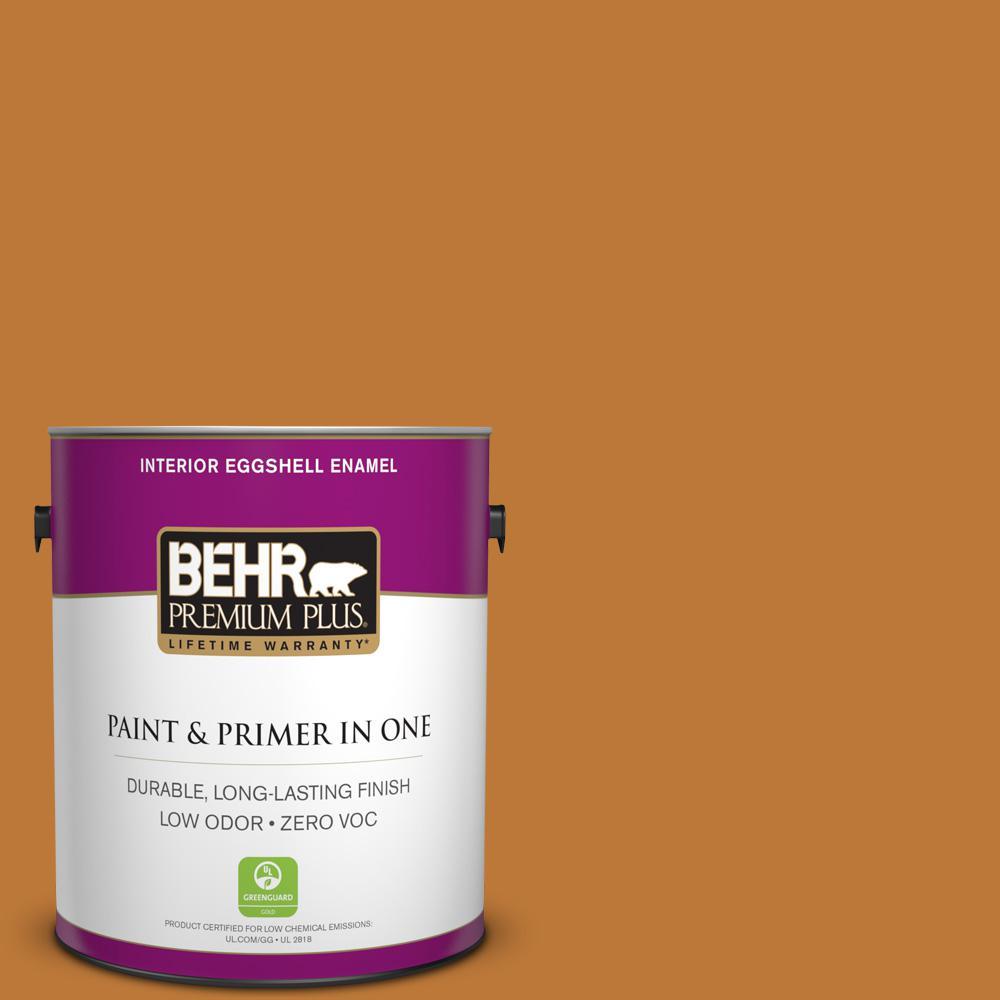 BEHR Premium Plus 1 gal. #290D-7 Crispy Gingersnap Eggshell Enamel Zero VOC Interior Paint and Primer in One