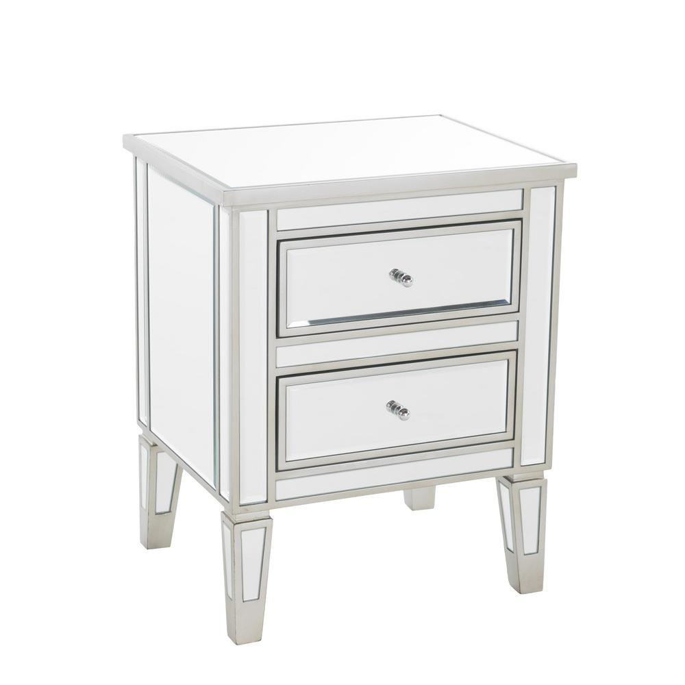 Noble House Craferd Mirror Silver 2 Drawer Accent Table