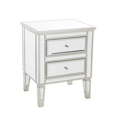 Craferd Mirror Silver 2-Drawer Accent Table